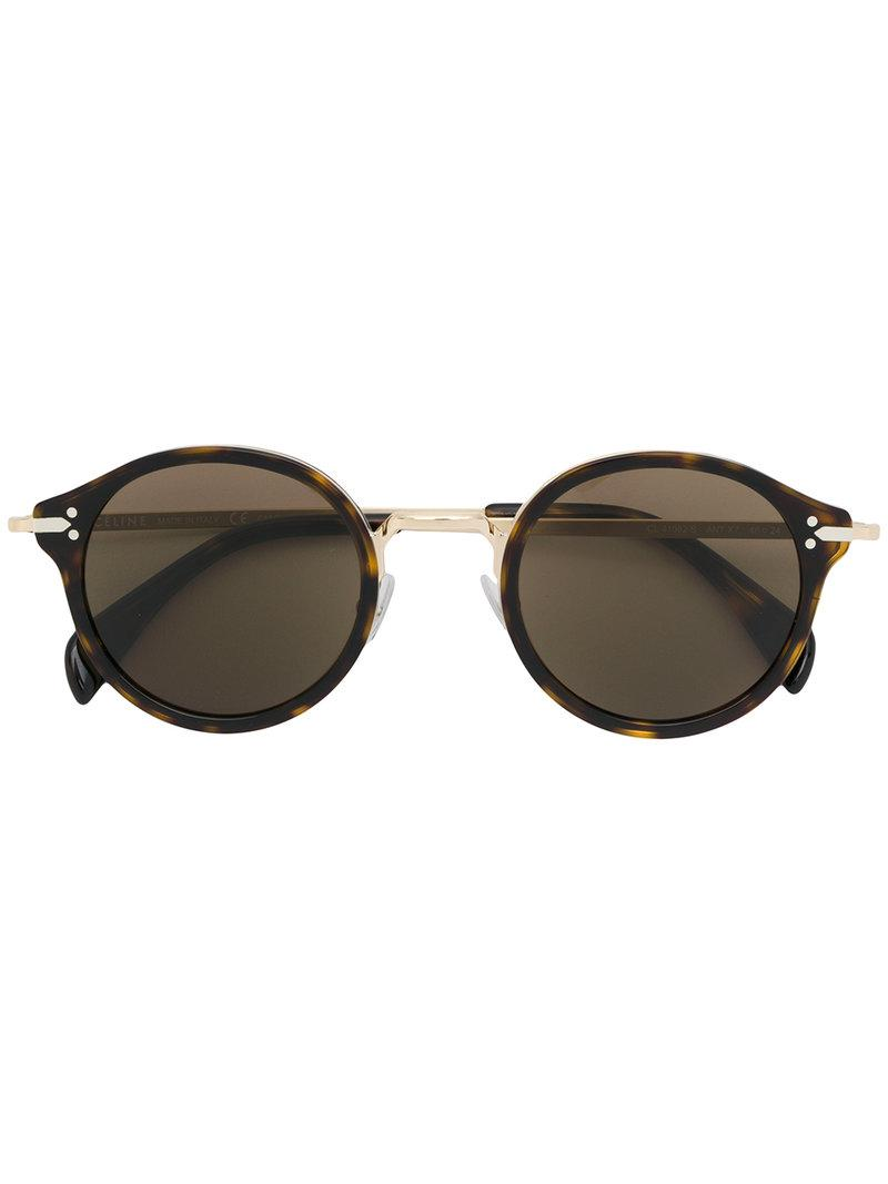 Lyst C 233 Line Round Tinted Sunglasses In Brown