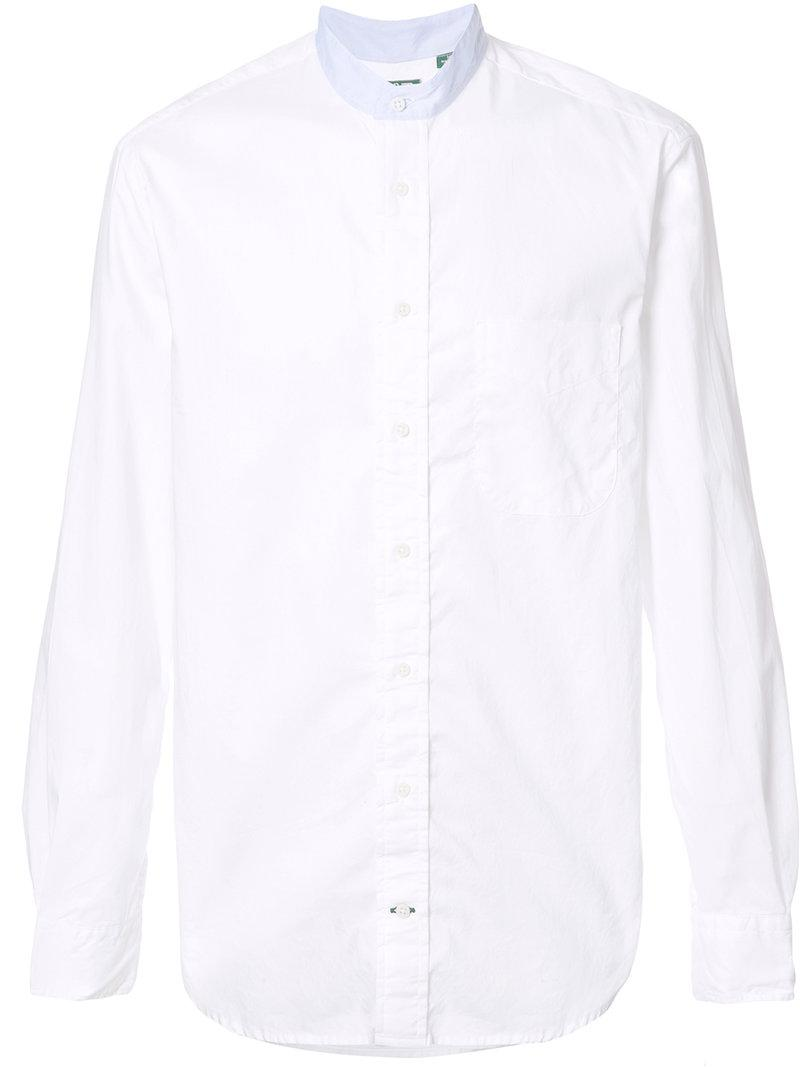 Gitman Brothers Vintage Banded Collar Shirt In White For