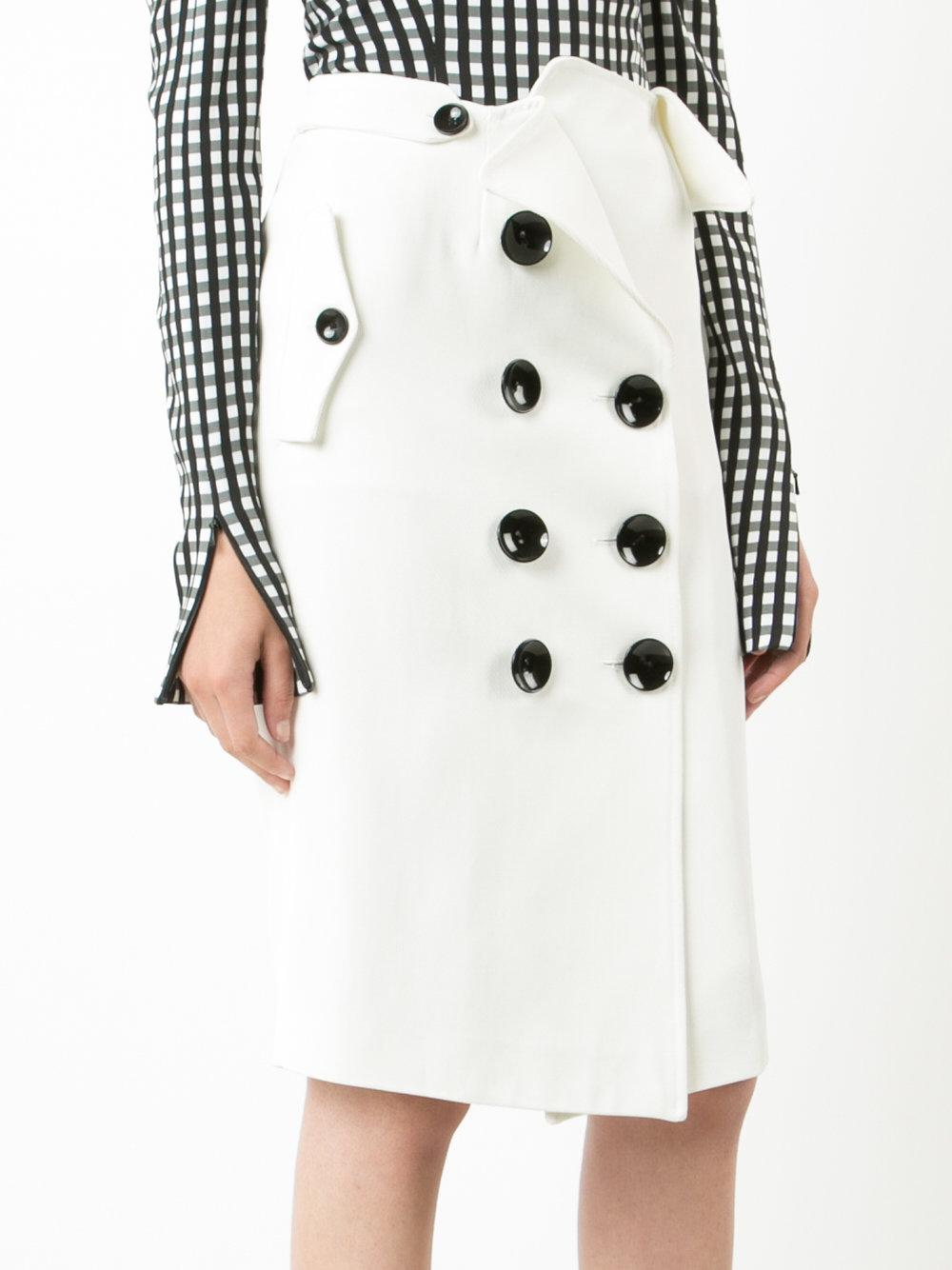Monse Cotton Front Button Skirt in White