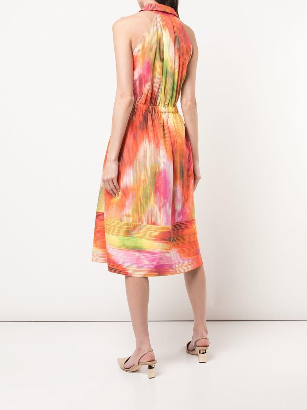 Robe mi-longue à imprimé abstrait Natori en coloris Orange