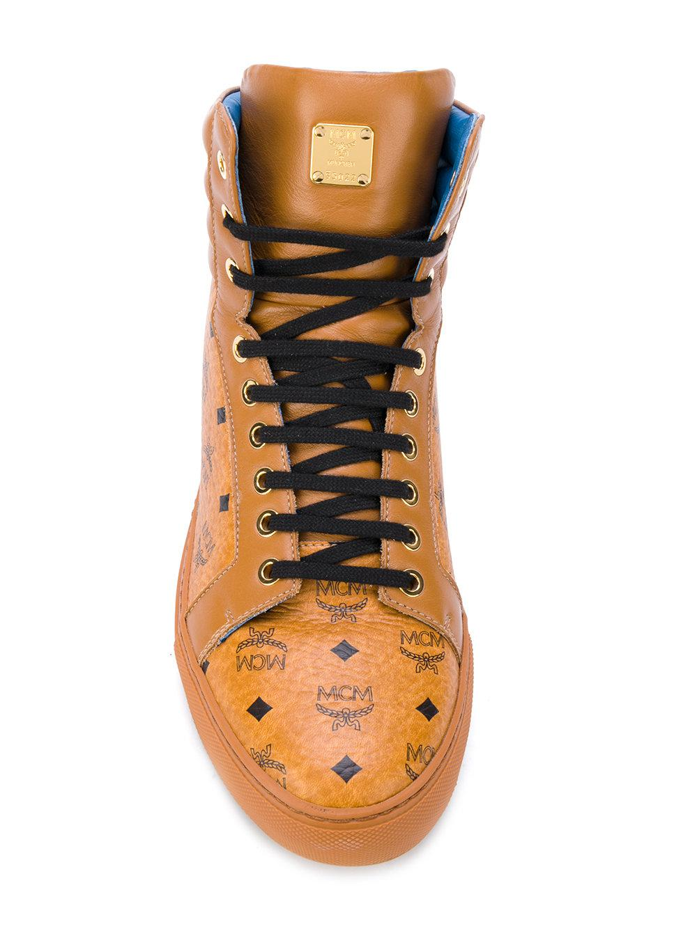 MCM Leather Lace Up Trainers in Brown for Men