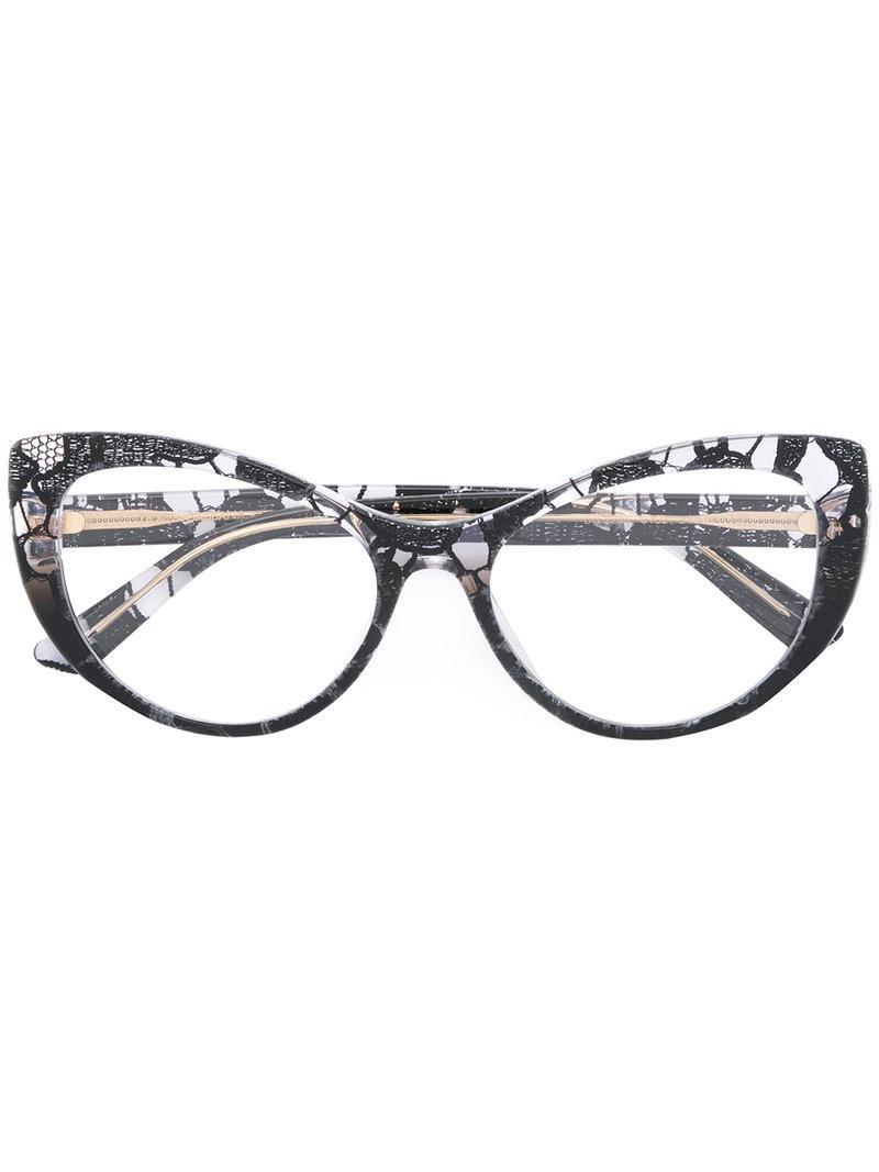 4dc7590e35 Dolce   Gabbana Lace Cat-eye Glasses in Black - Lyst