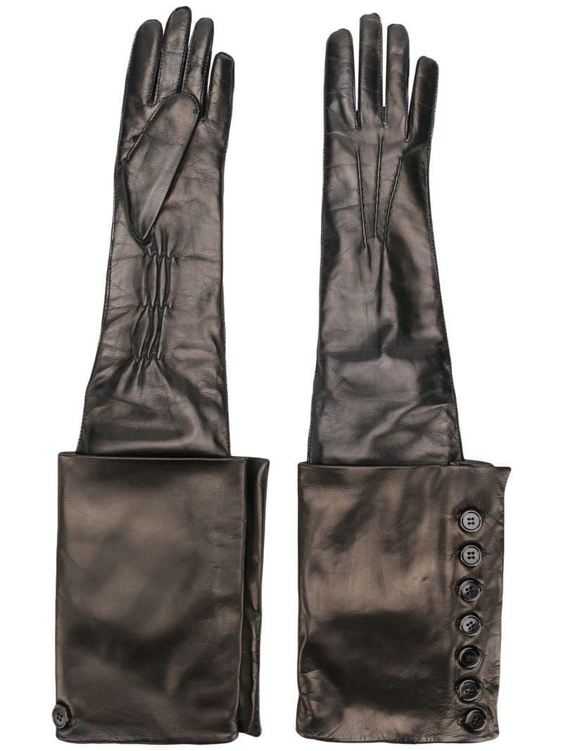 02da912c197 Ann Demeulemeester - Black Gothic Leather Gloves - Lyst. View fullscreen