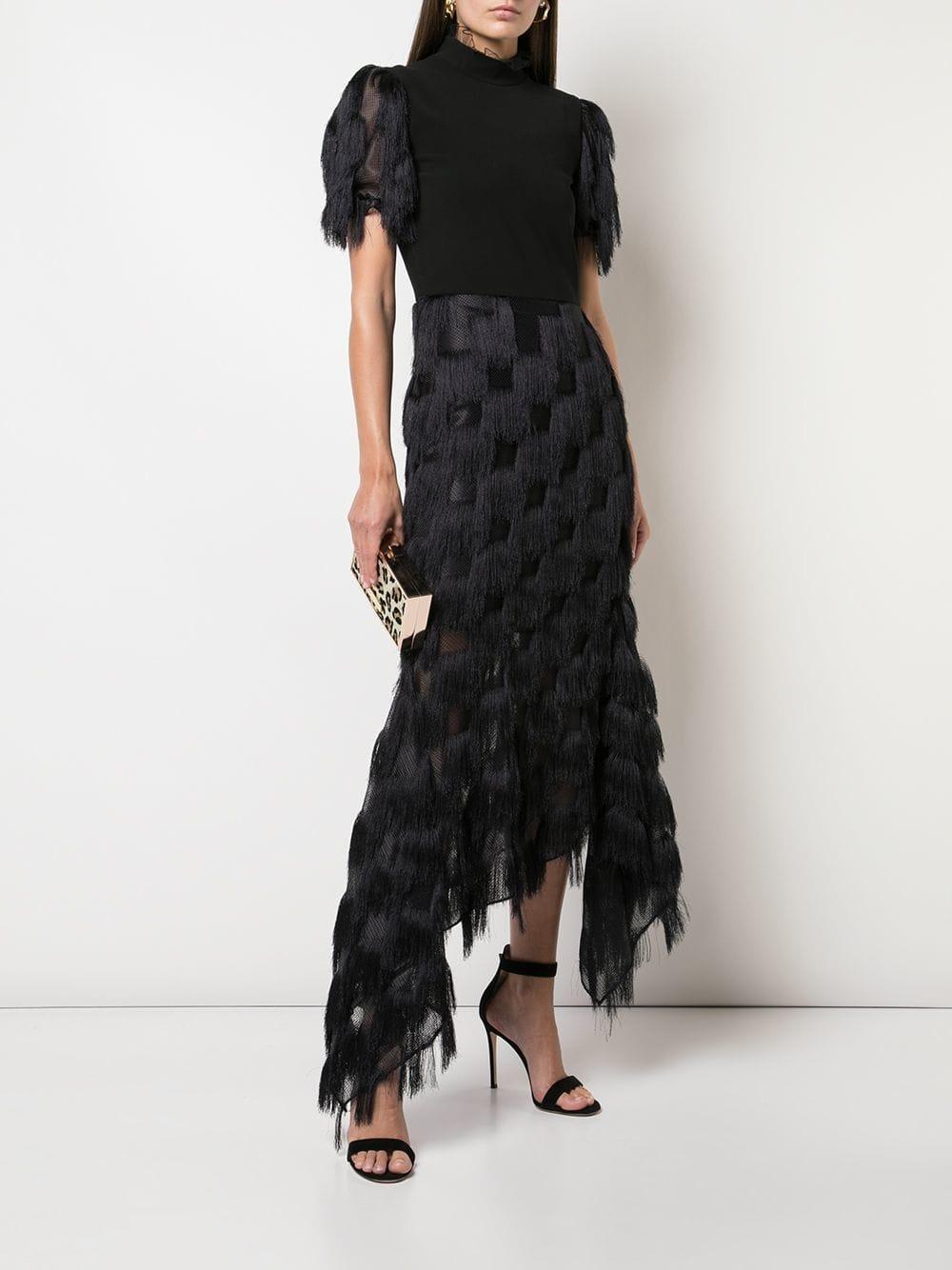 7637671b2c9a6a Lyst - Christian Siriano Fringed Asymmetric Hem Dress in Black