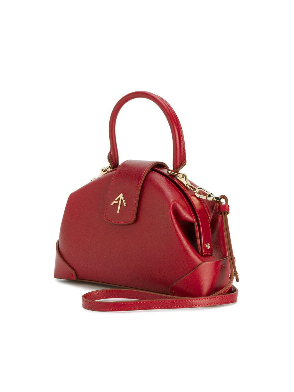 MANU Atelier Leather Arrow Pin Tote Bag in Red