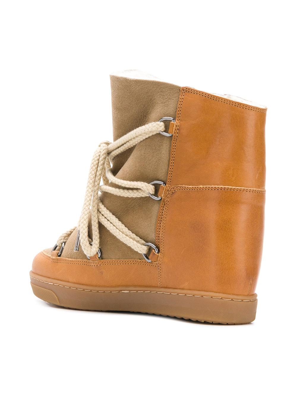 Isabel Marant Lace Nowles Shearling-lined Concealed Wedge Boots in Brown