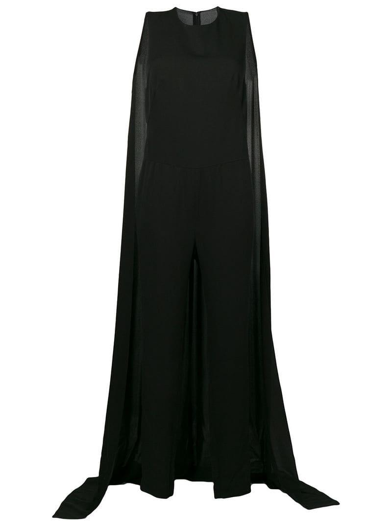 0704bc2c9f21 Tom Ford Cape Detail Jumpsuit in Black - Lyst