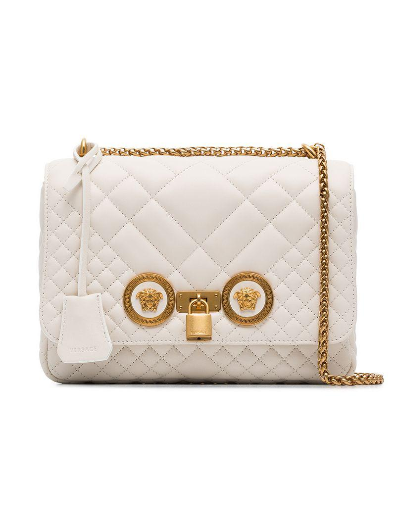 fc3a43ee64 Lyst - Versace White Quilted Chain Shoulder Bag in White - Save 30%