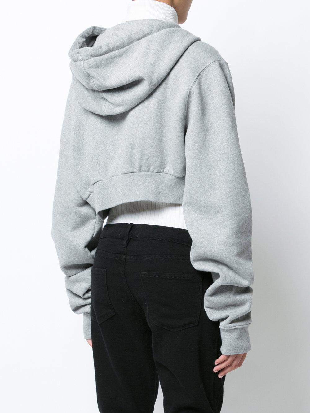 Lyst off white c o virgil abloh simple crop hoodie in gray for Off white virgil abloh