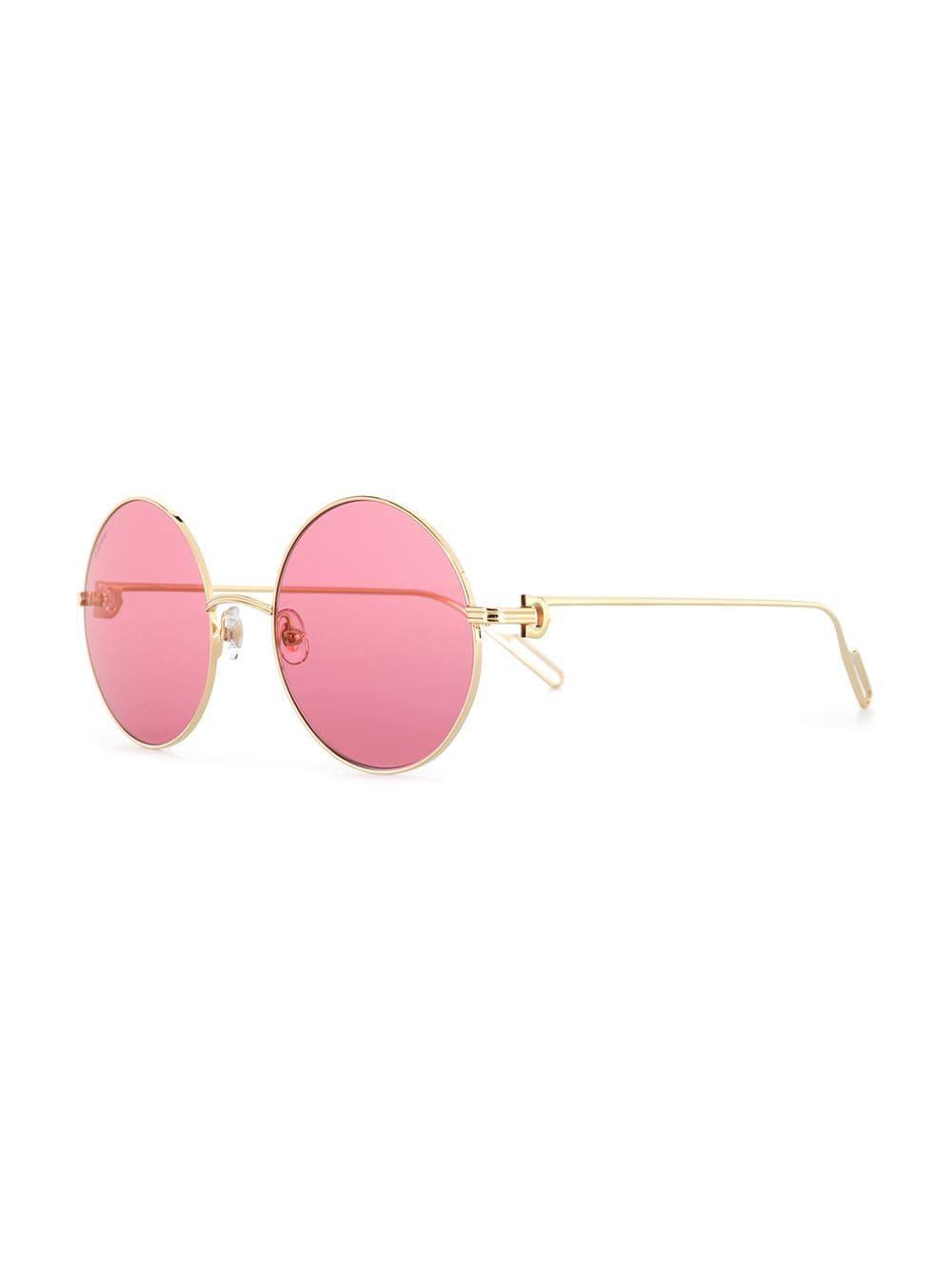3c8028d8b09 Cartier - Metallic Circle Frame Sunglasses - Lyst. View fullscreen