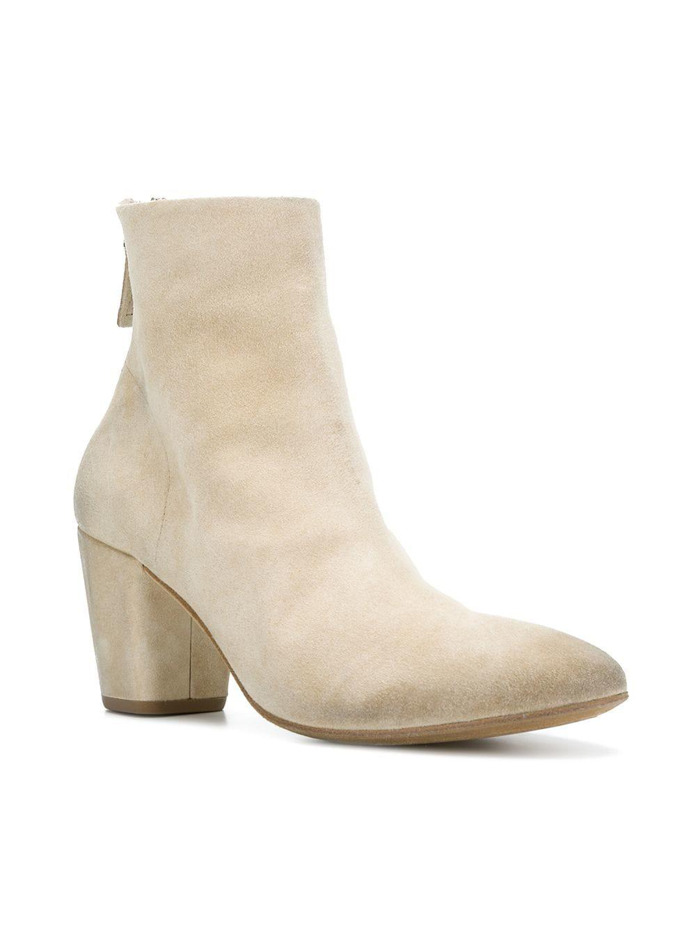 Marsèll Leather Block Heel Boots in Natural