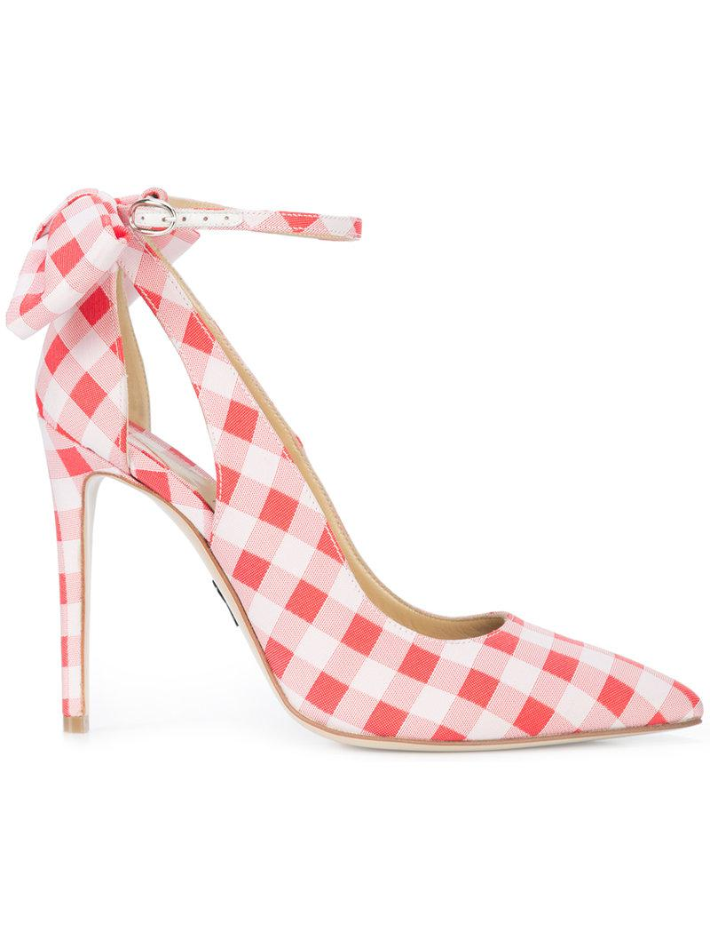 Womens Fiona Gingham Ankle-Strap Pumps PAUL ANDREW IHV4z5EM