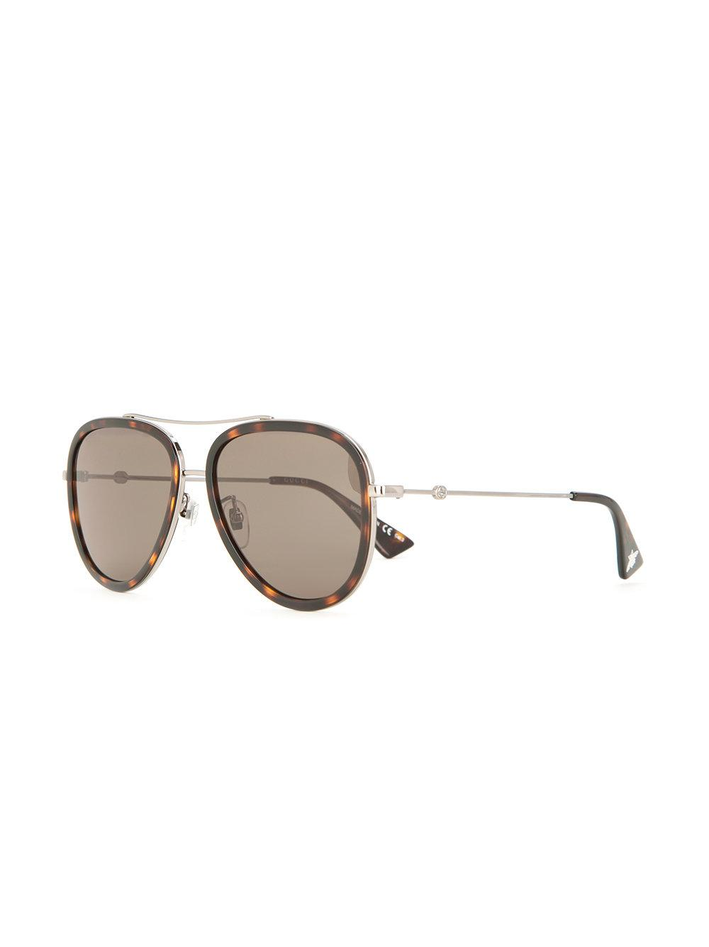 fcc7e922af7 Gucci Aviator Sunglasses in Brown - Lyst