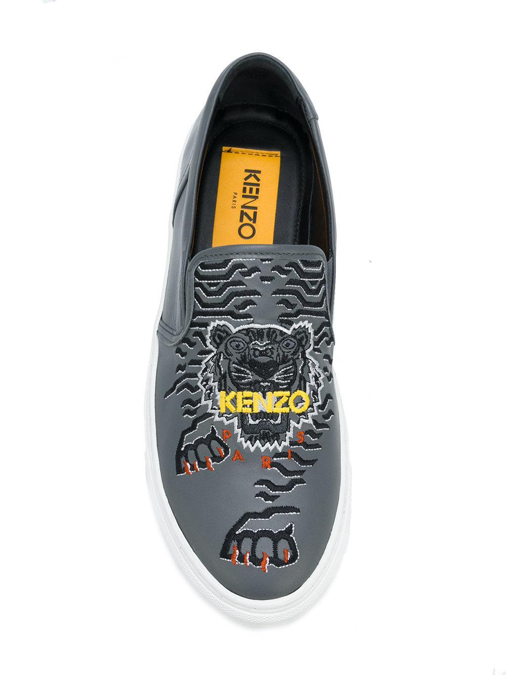 KENZO Leather Tiger Slip-on Sneakers in Grey (Grey)