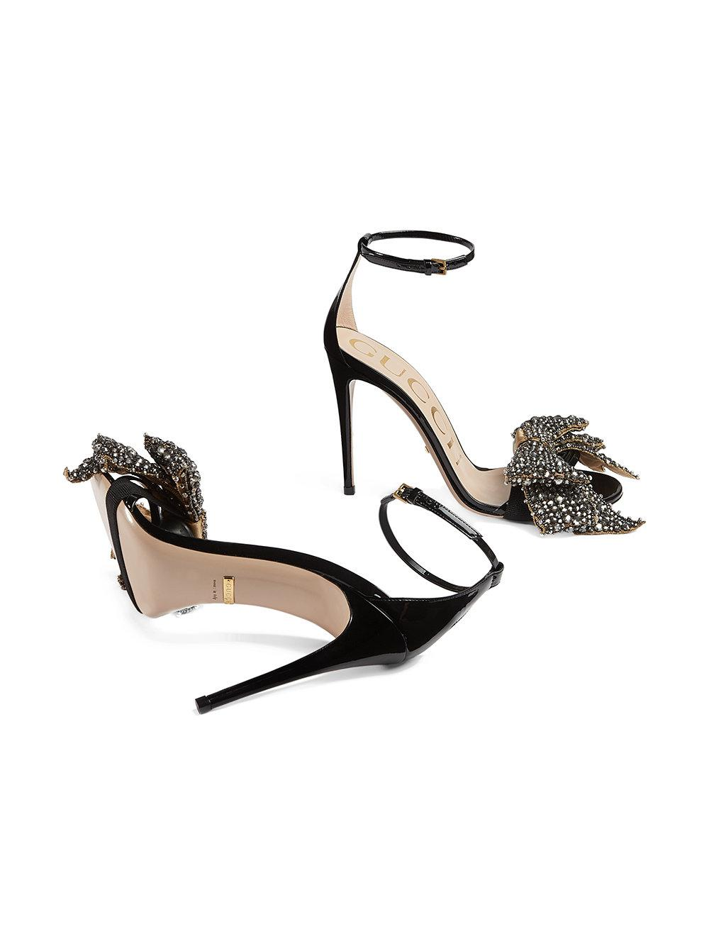 373ab1cca03fa Gucci Patent Leather Sandals With Removable Crystal Bows in Black - Lyst