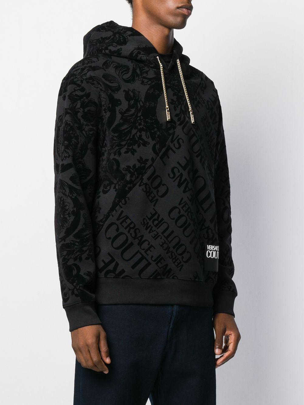Versace Jeans Couture Katoen Hoodie Met Barokprint in het Zwart voor heren