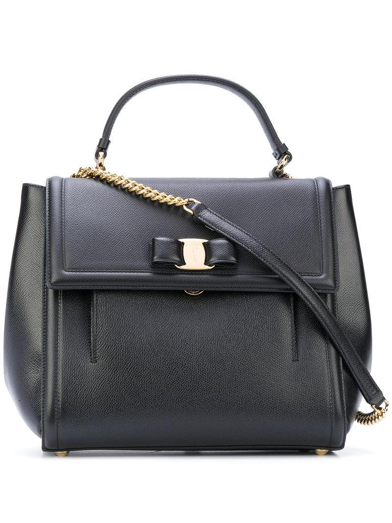 3ec6f6d791 Ferragamo Medium Vara Top Handle Bag in Black - Lyst