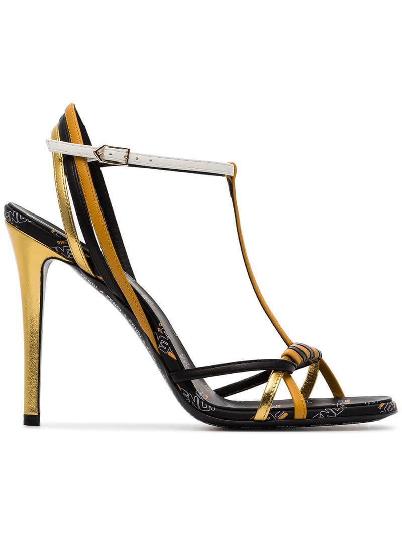 Lyst - Fendi Strappy Logo High Heel Sandals in Black f3fc85feb5b