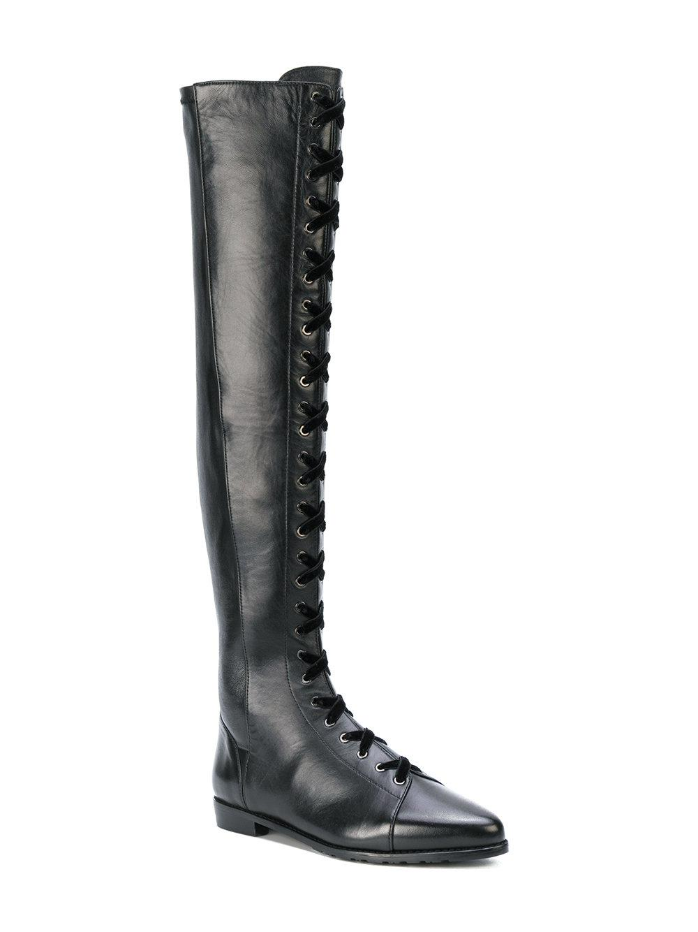 Stuart Weitzman Leather Lace Up Knee Boots In Black Lyst