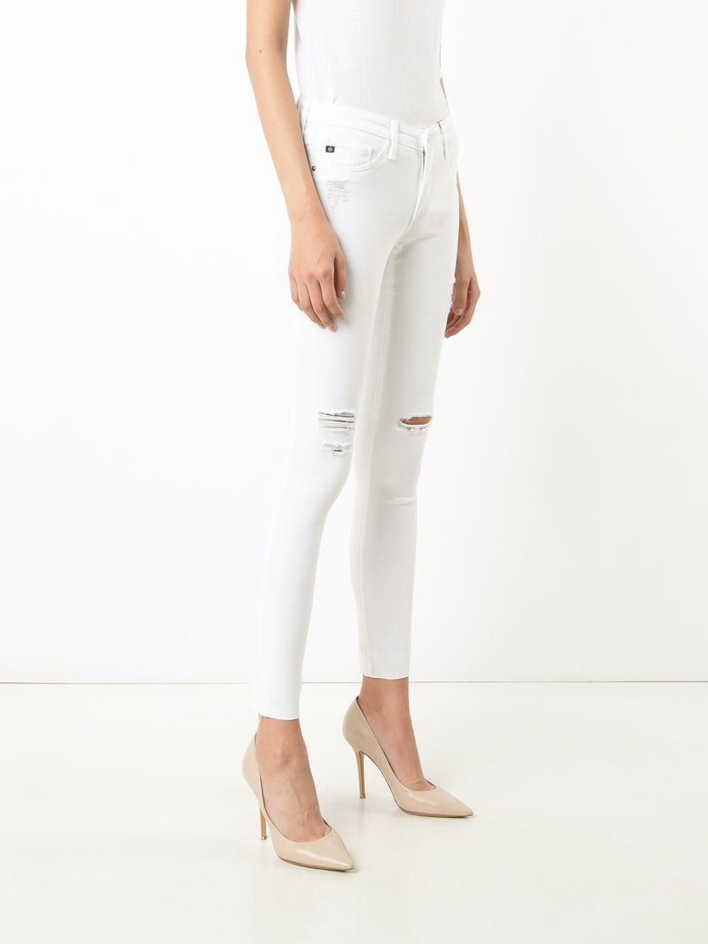 AG Jeans Denim Distressed Skinny Jeans in White