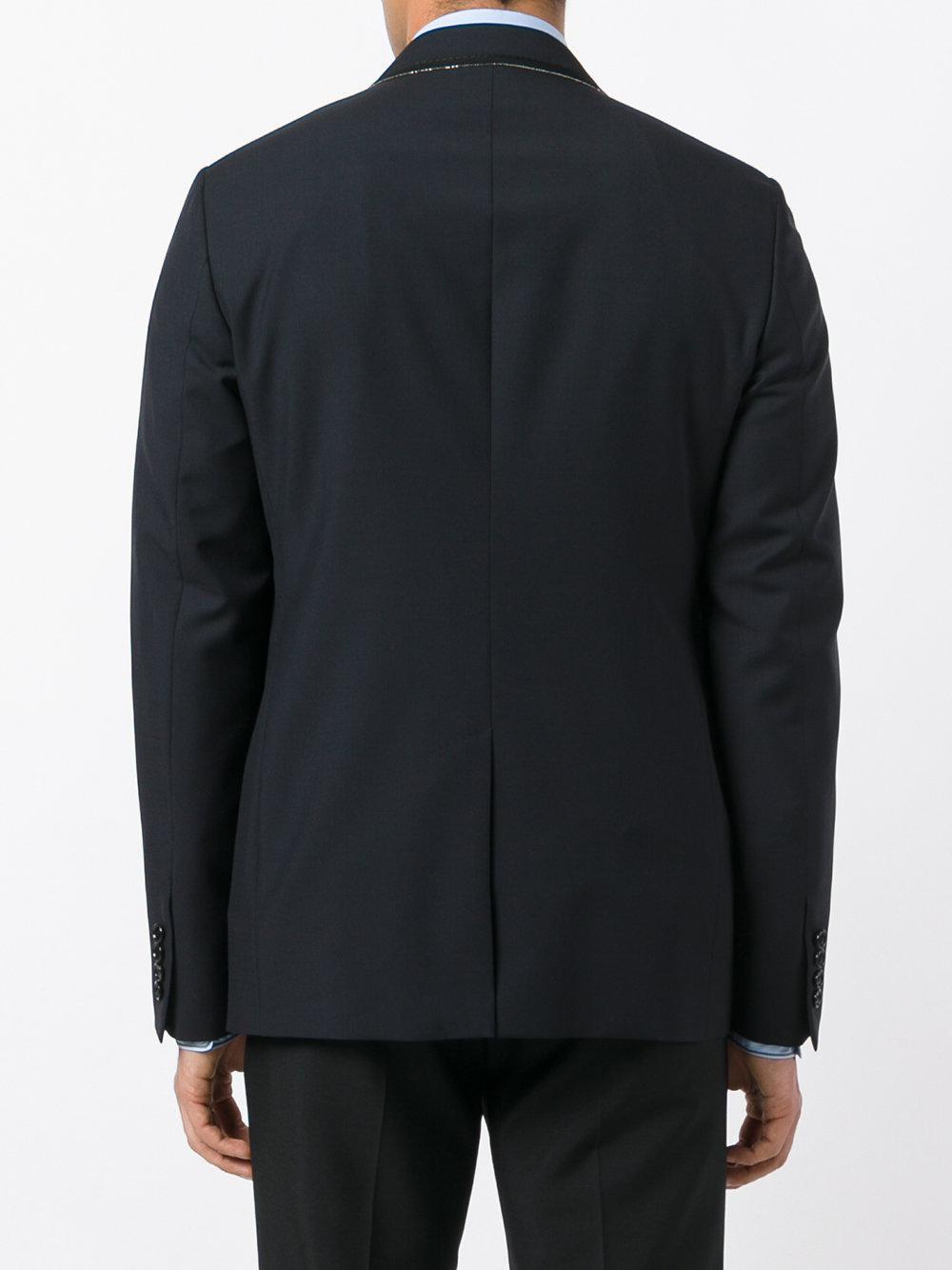 Lanvin Wool Grosgrain Trimmed Blazer in Blue for Men