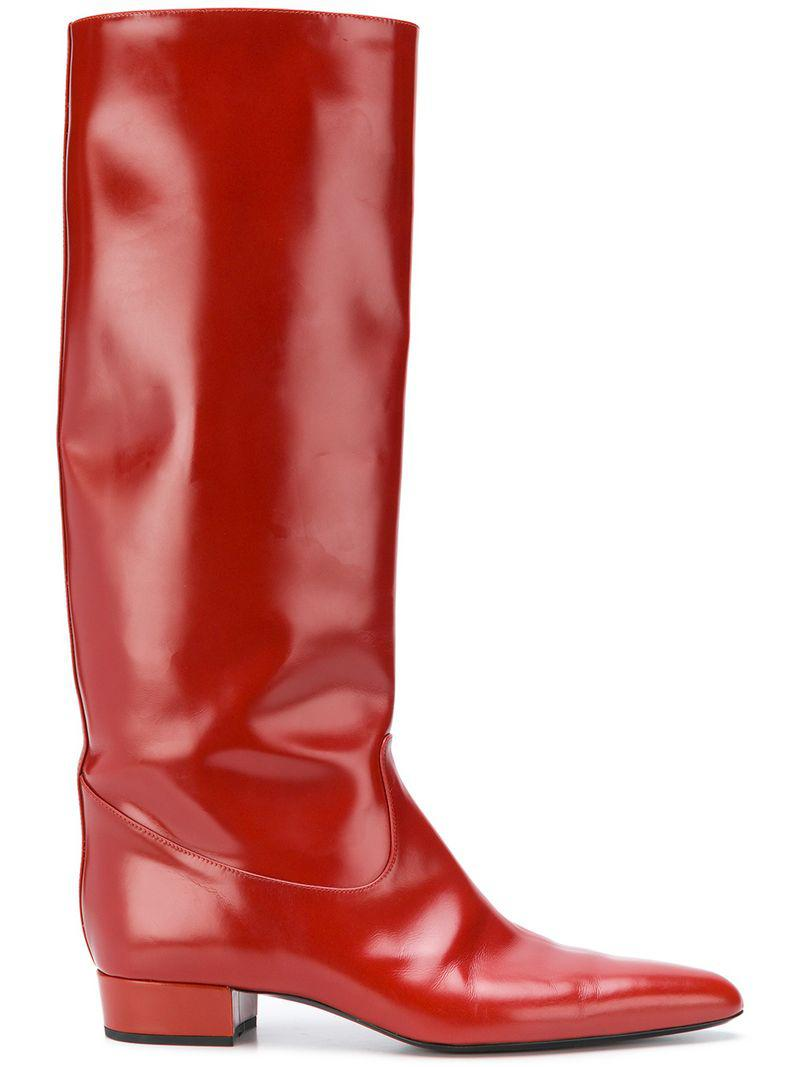 Lyst - Nina Ricci Tall Pointed Boots in Red eee125be2be