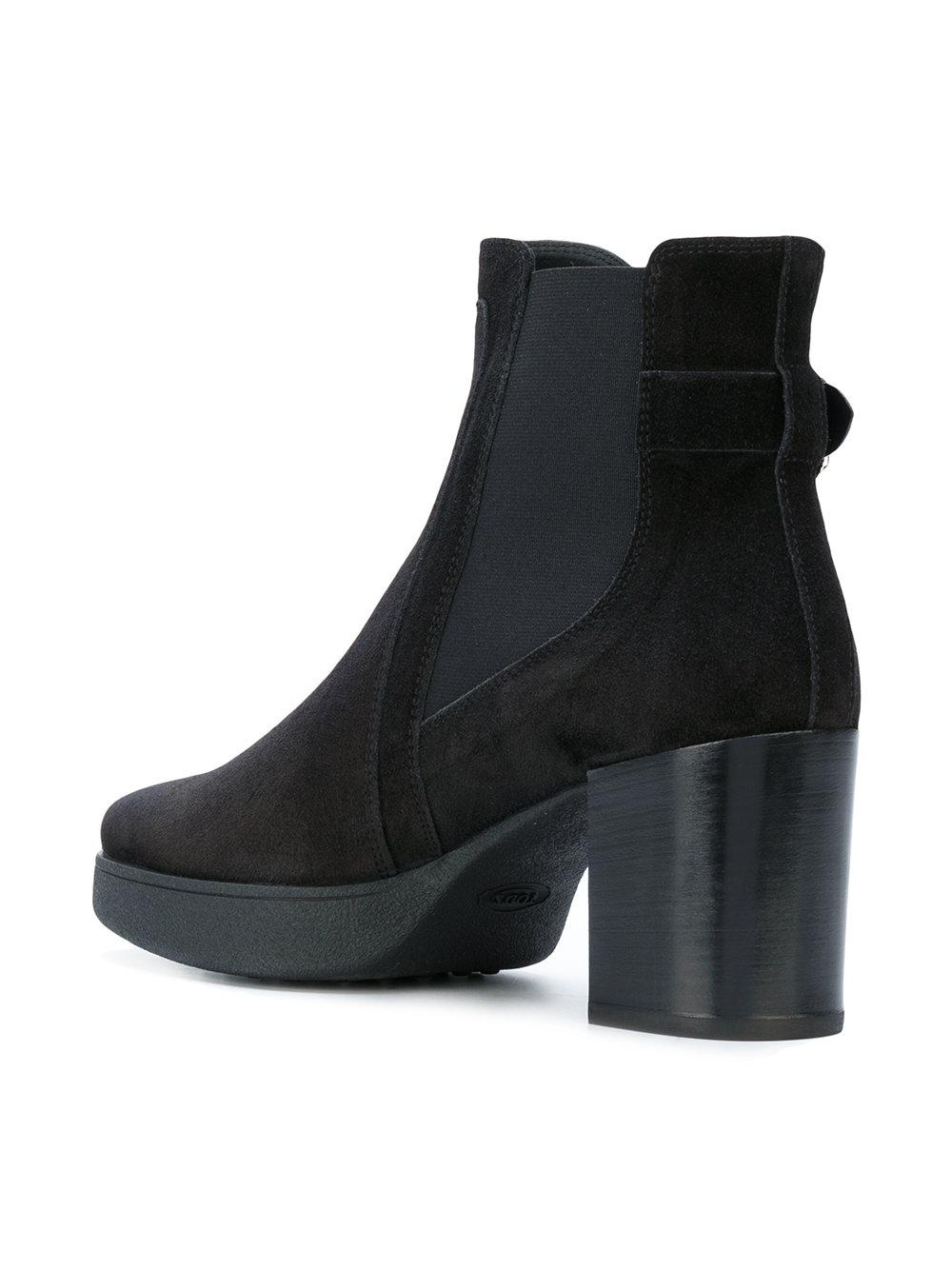Tod's Leather Platform Boots in Black