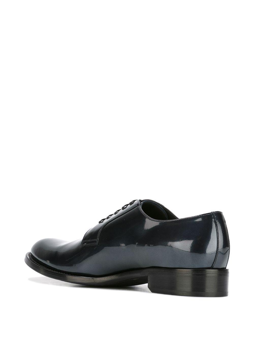 Dolce & Gabbana Leather Varnished Derby Shoes in Blue for Men