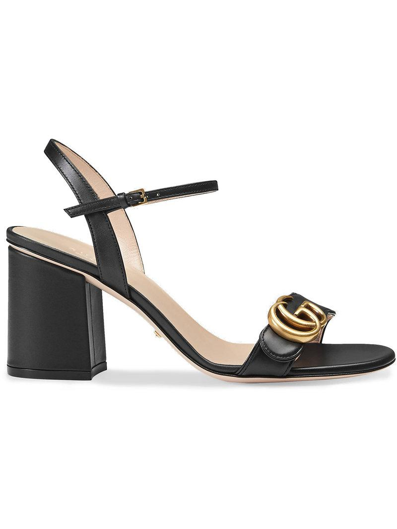 2802b075001a Lyst - Gucci Leather Mid-heel Sandal in Black - Save 11%