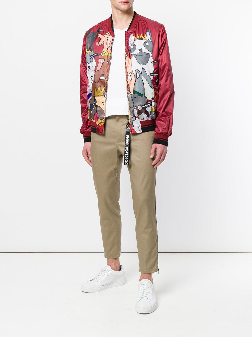Dolce & Gabbana Cotton Dog Print Bomber Jacket in Red for Men