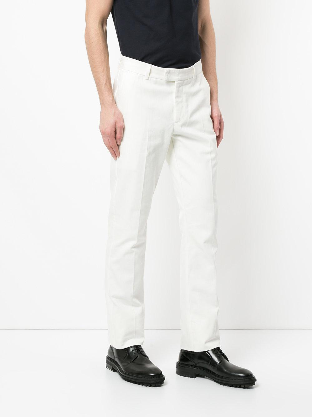 Gieves & Hawkes Cotton Tailored Fitted Trousers in White for Men