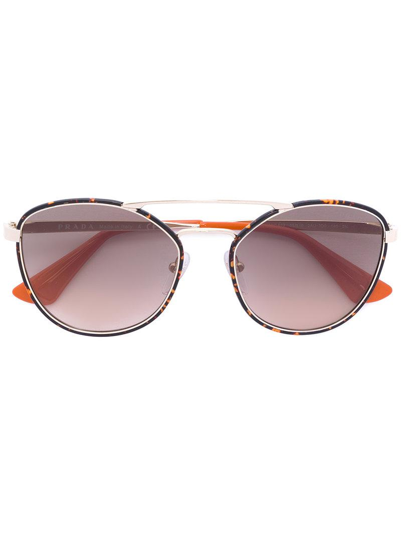 0a00e83114 Prada - Metallic Round Oversized Sunglasses - Lyst. View fullscreen