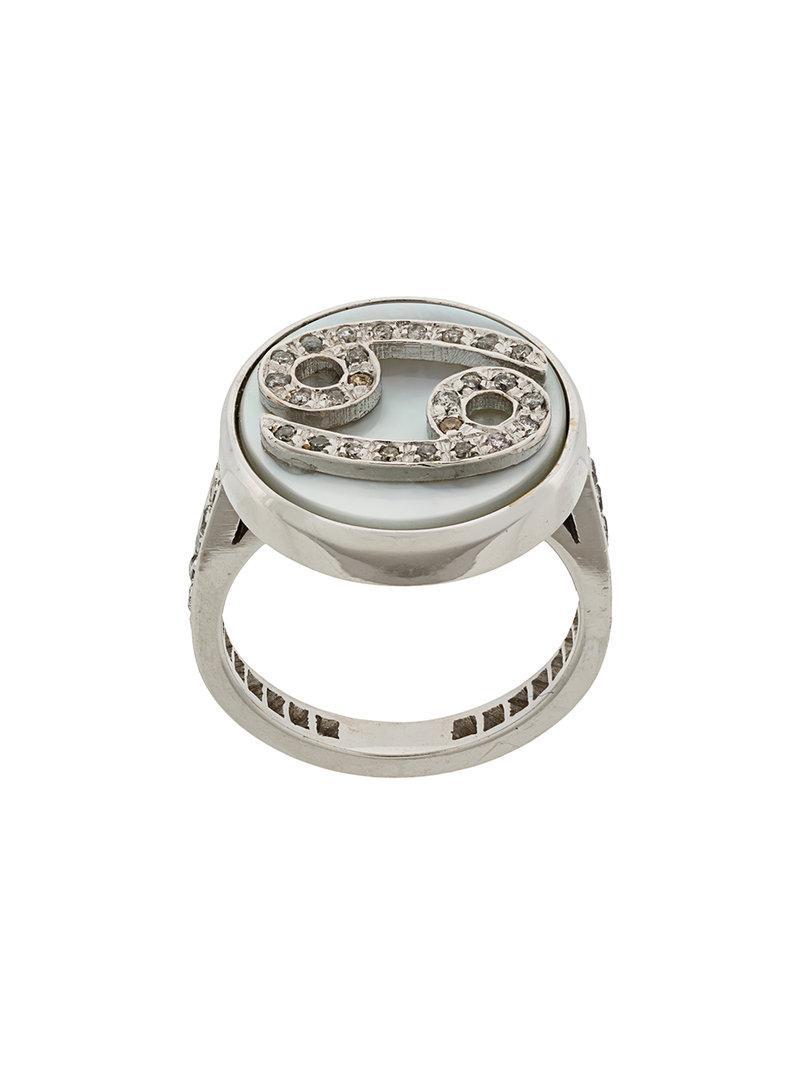 Carolina Bucci 18kt gold and diamond Lucky Gemini Zodiac ring - Metallic TaqrTe