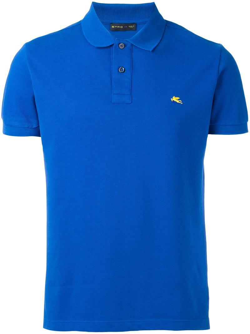 Lyst etro logo embroidery polo shirt in blue for men for Logo embroidered polo shirts