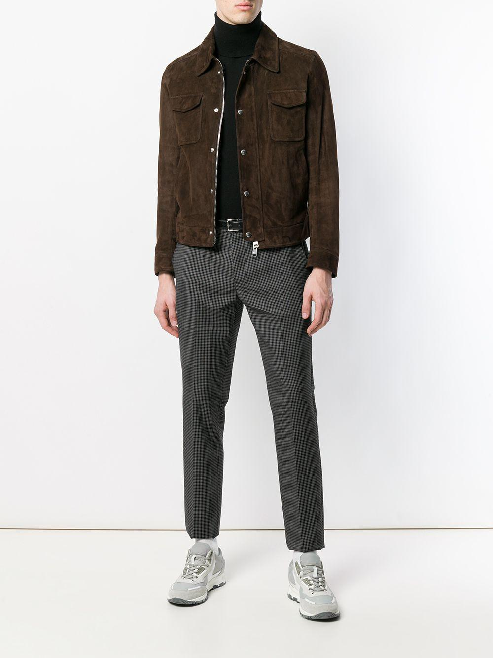 AMI Suede Zipped Jacket in Brown for Men