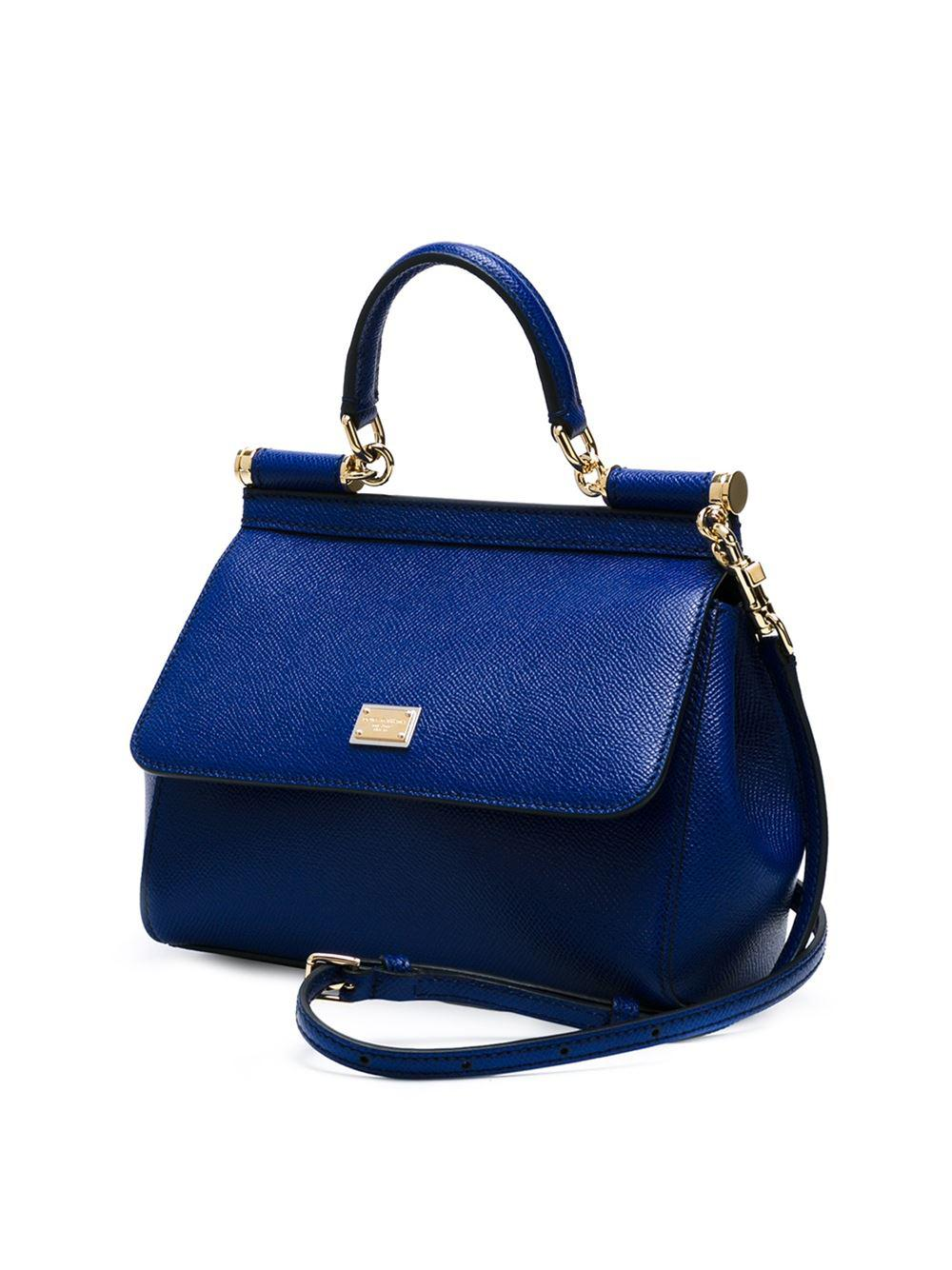 Dolce & Gabbana Leather Sicily Classic Tote in Blue