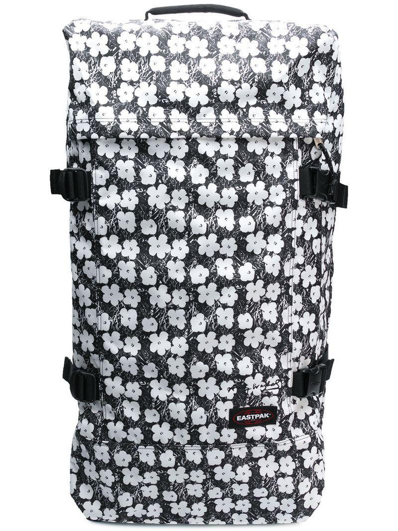 Lyst - Eastpak Floral Print Pull Bag in Black c35f5621792