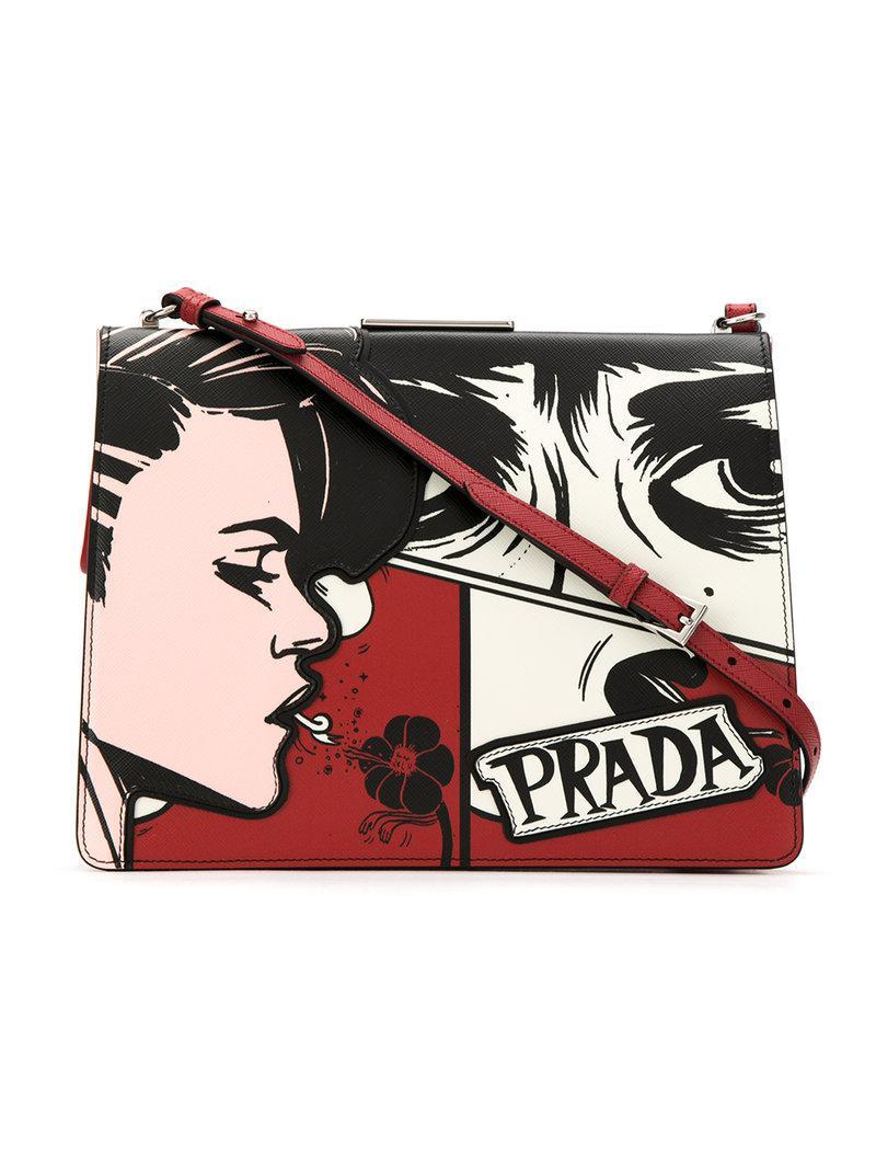 fd2c6d1aa6d42f Lyst - Prada Printed Crossbody Bag in Red