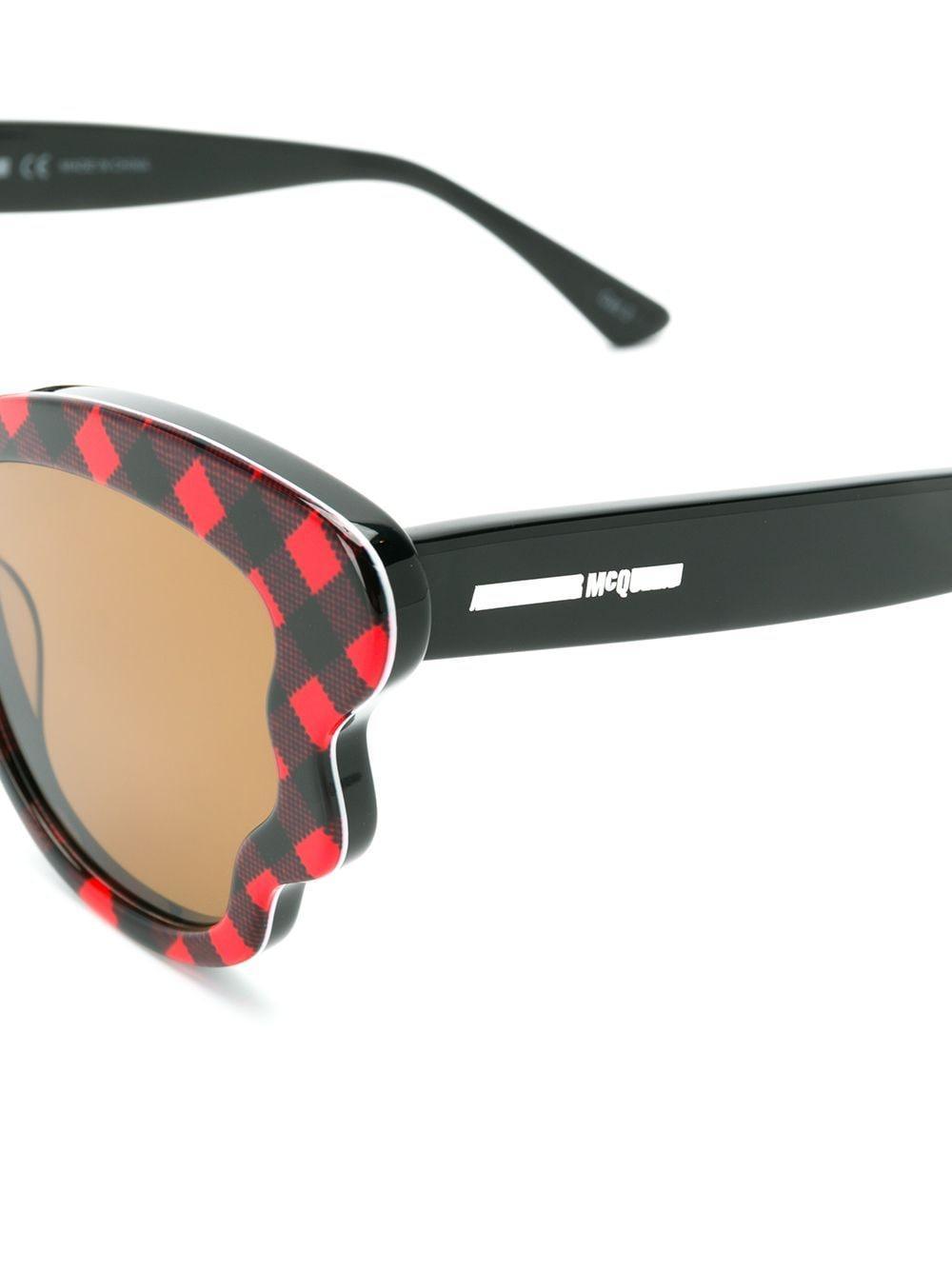 McQ Check Detail Sunglasses in Black
