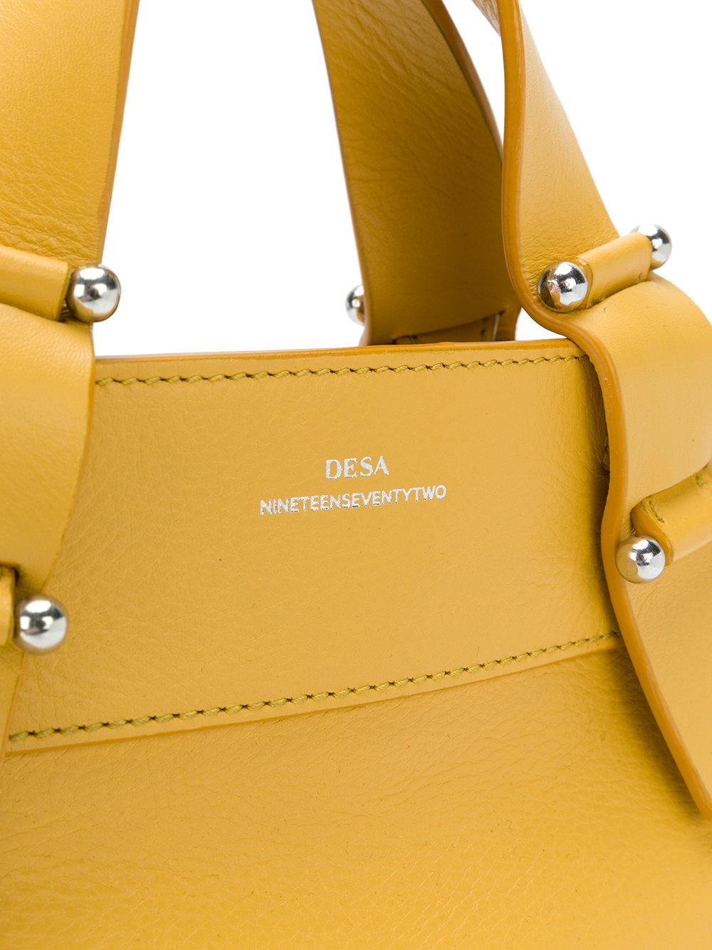 DESA NINETEENSEVENTYTWO Leather Mini Tote Bag in Yellow & Orange (Yellow)