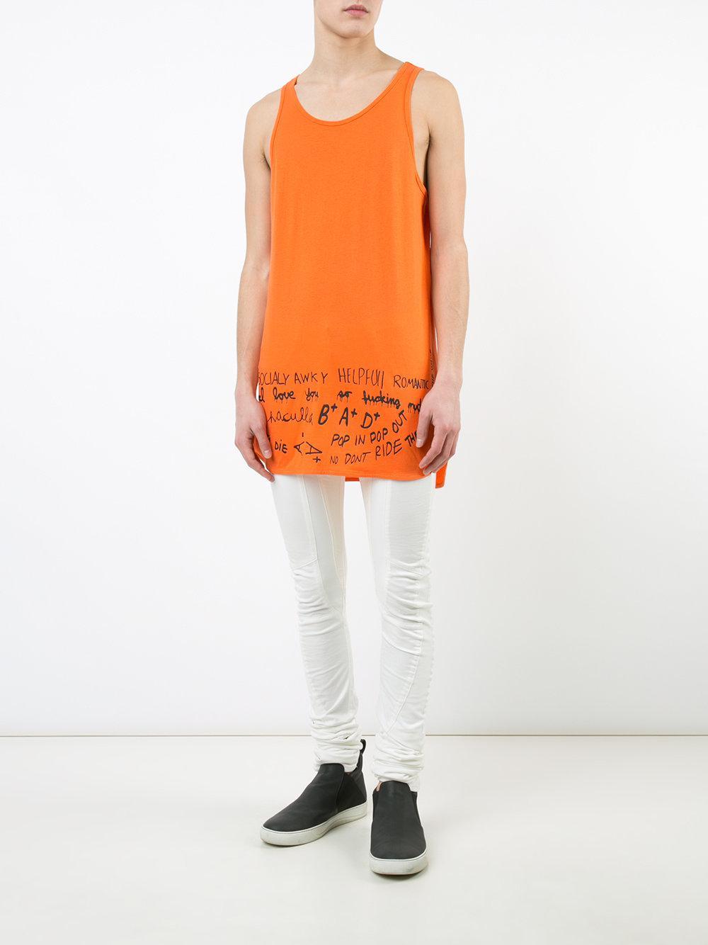 Haculla Cotton Handwriting Print Top in Yellow & Orange (Orange) for Men