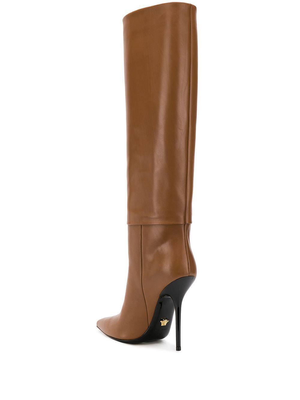 Botas altas de tacón stiletto Versace de Cuero de color Marrón