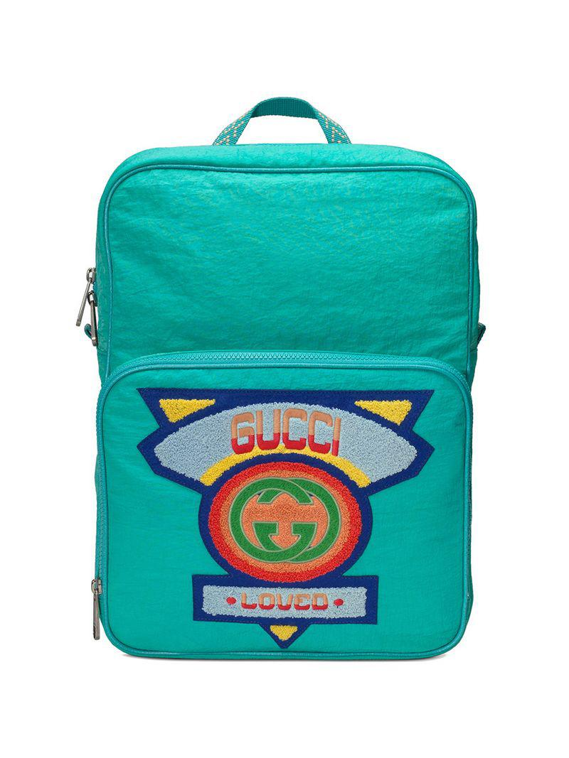 9ce2d3a0e00 Gucci Medium Backpack With  80s Patch in Blue for Men - Lyst