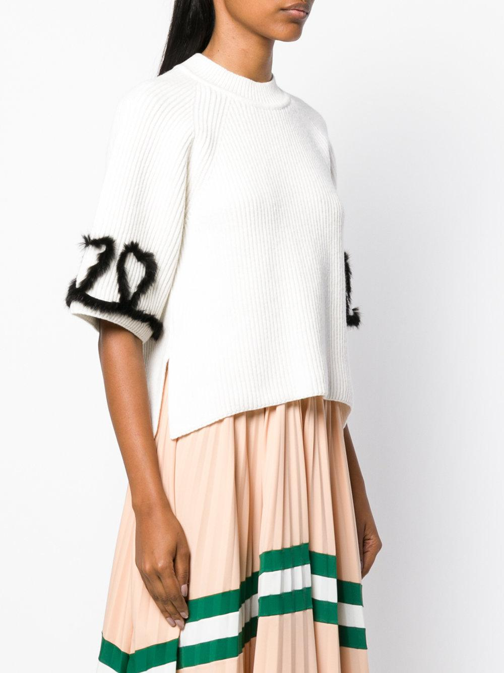 Fendi Wool Ribbed Knitted Top in White