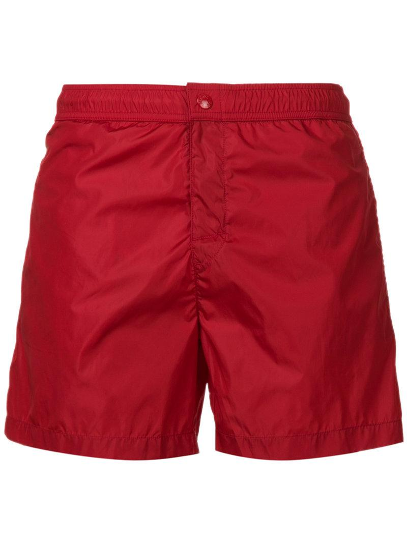 mens red moncler shorts
