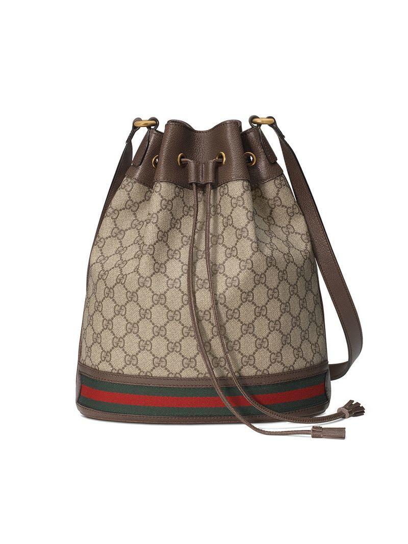 46d010be85ce Gucci. Women's Beige And Ebony Ophidia GG Bucket Bag
