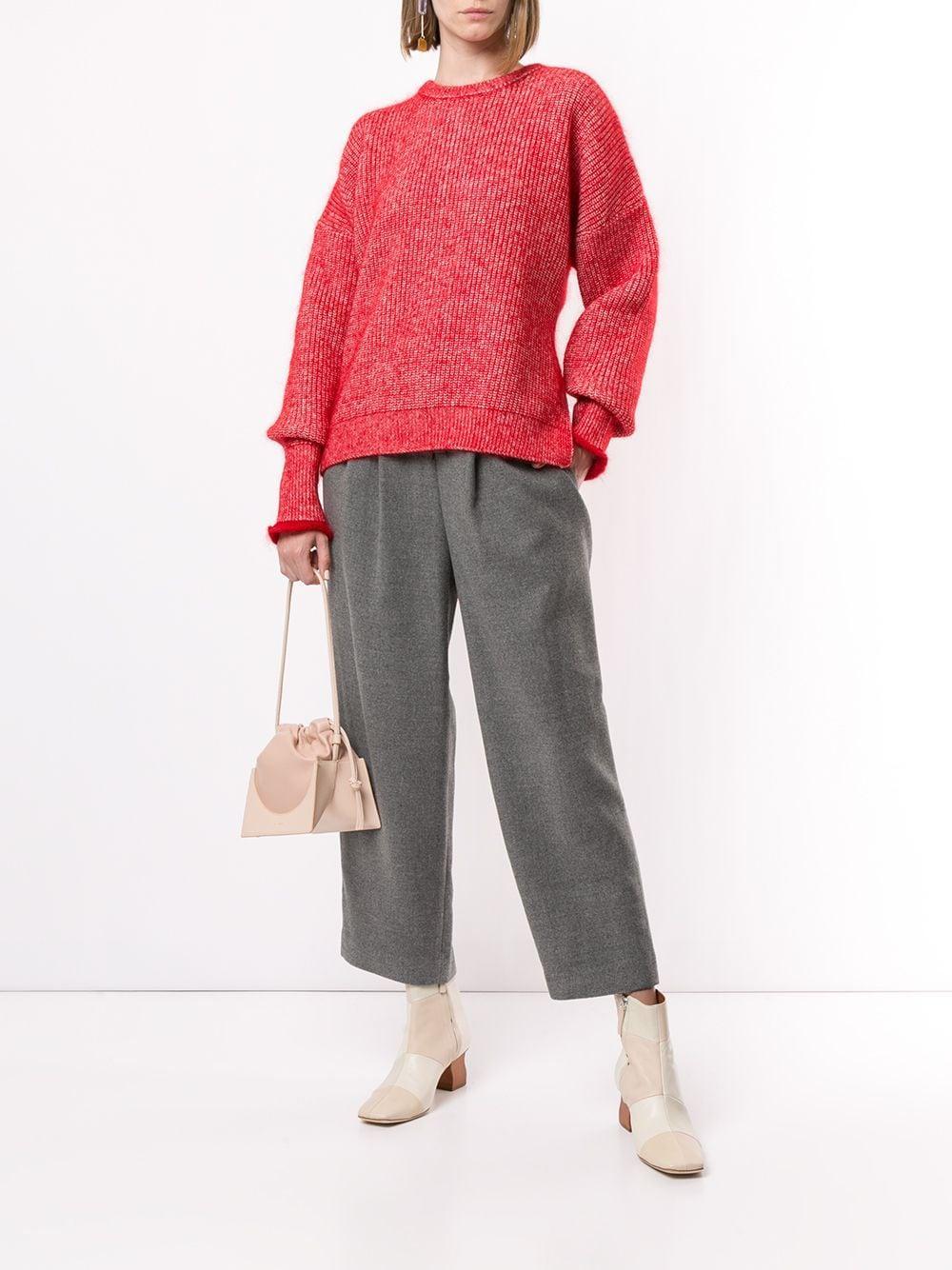 Pull à manches drapées Laines Enfold en coloris Rouge