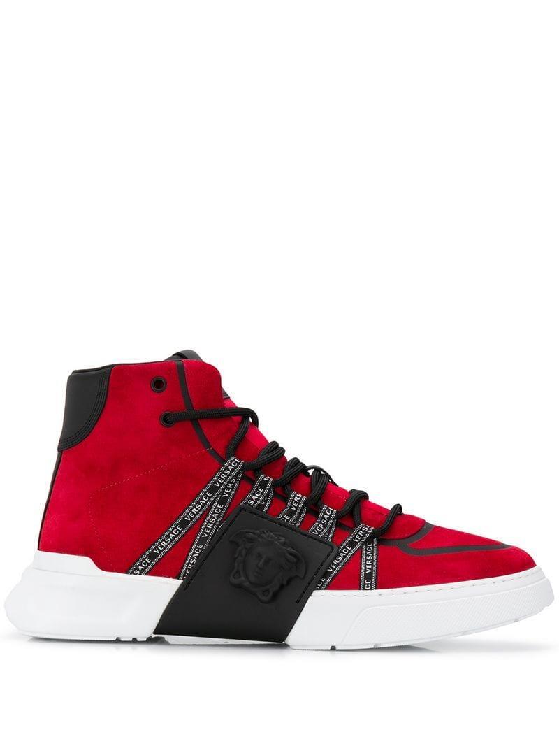 a008f391b37c6 Versace - Red Medusa Motif High-top Sneakers for Men - Lyst. View fullscreen