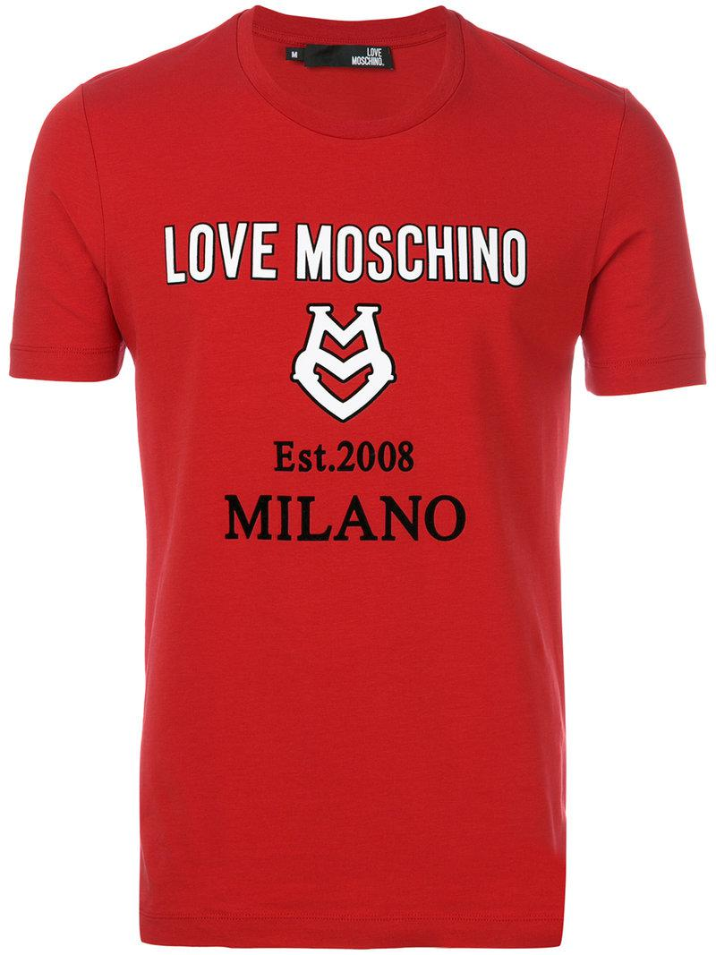 lyst love moschino logo t shirt in red for men. Black Bedroom Furniture Sets. Home Design Ideas