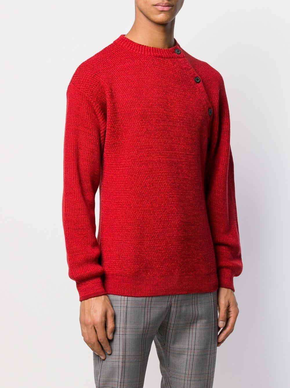 Lanvin Trui Met Knoopdetail in het Rood voor heren